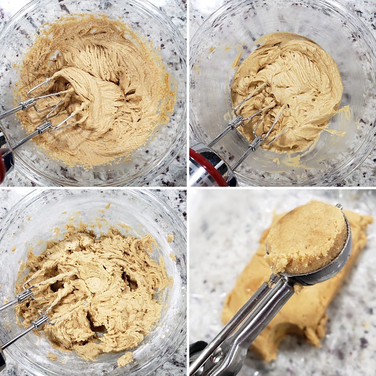 Mixing cookie dough in a glass bowl.