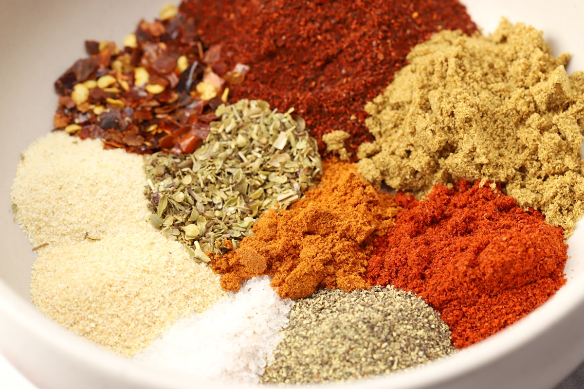 Various spices arranged in a bowl.