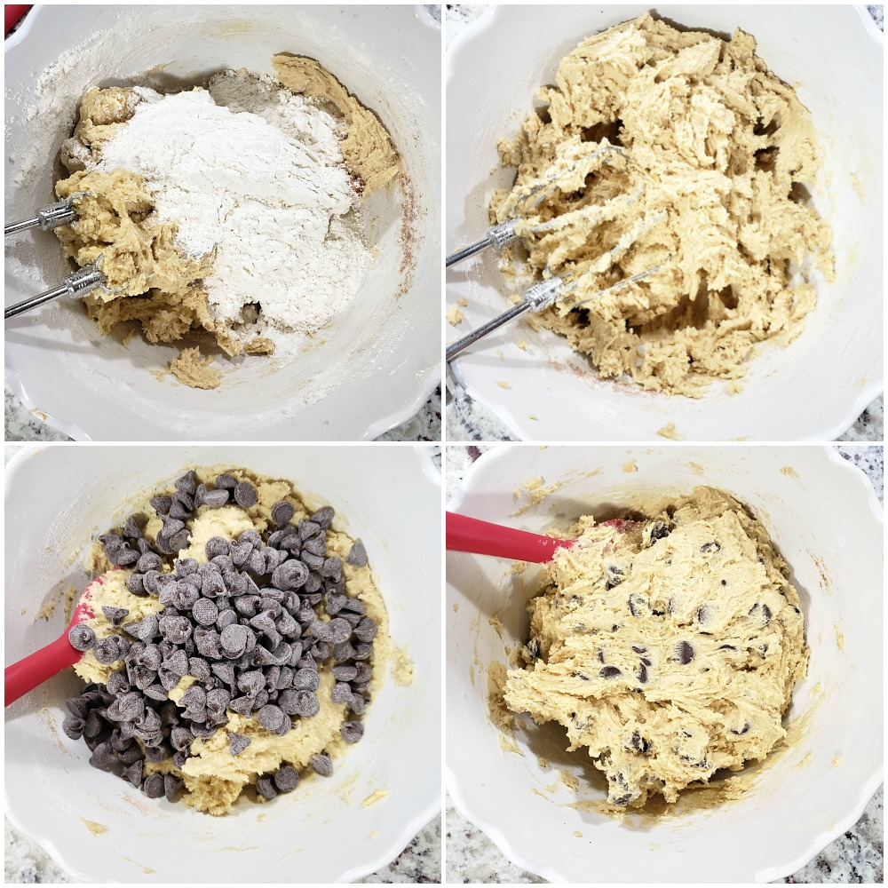 Adding dry ingredients and chocolate chips to a dough.