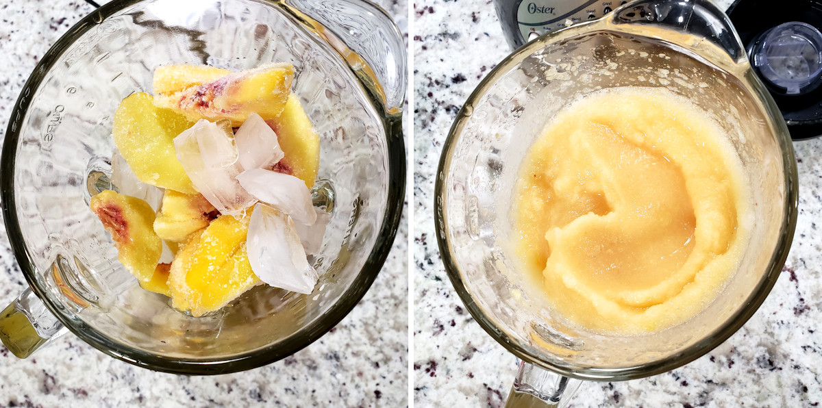 Blending peaches and ice in a blender.