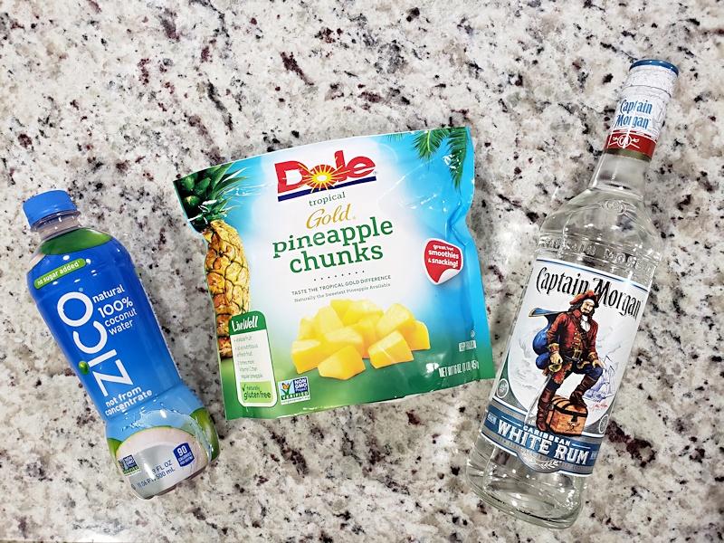 Ingredients to make pineapple rum slush.