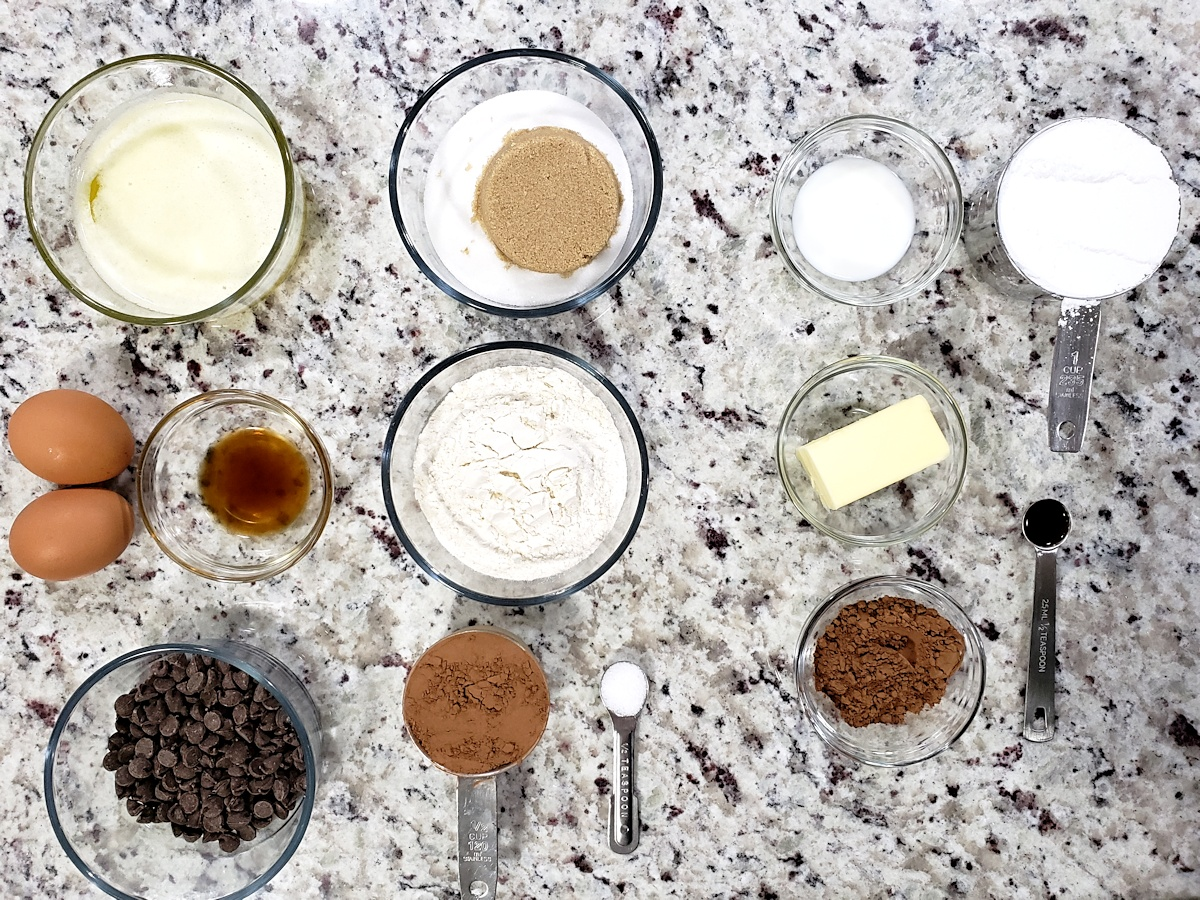 Ingredients to make brownies.