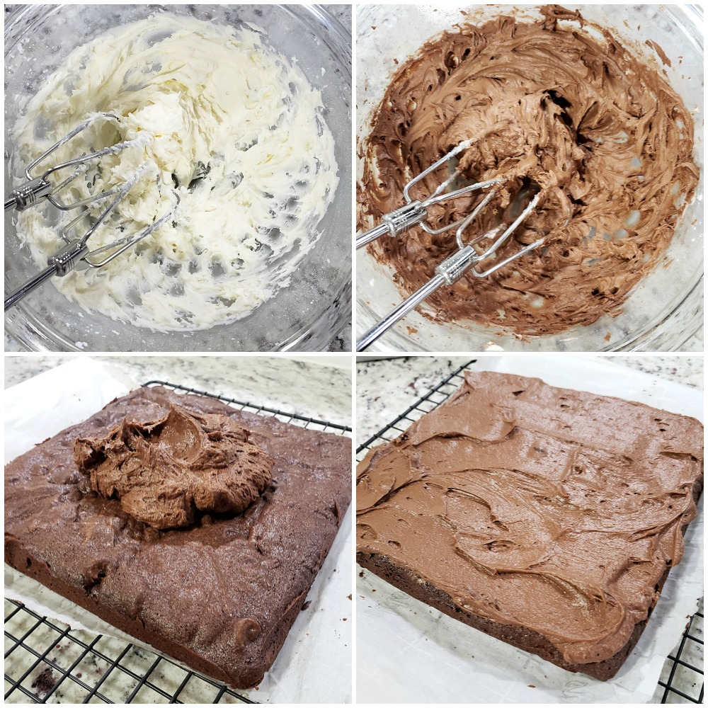Mixing frosting and spreading onto brownies.