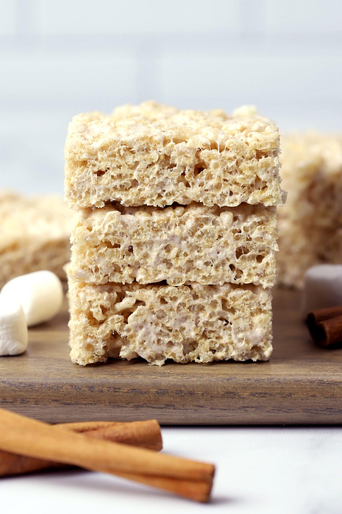 A stack of three rice krispies treats.