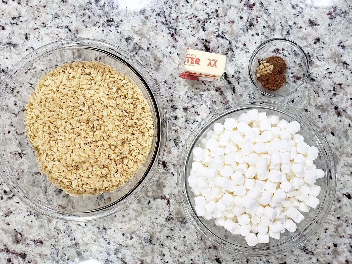 Ingredients to make fall rice krispies treats.