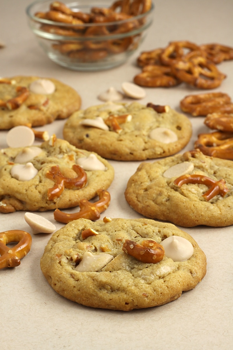 Cookies filled with caramel chips and pretzel pieces.