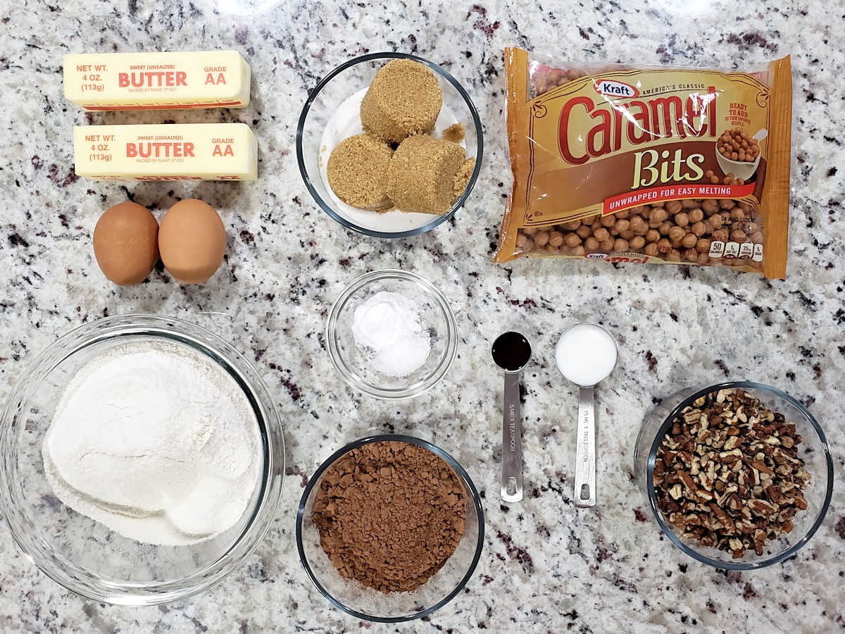 Ingredients to make chocolate cookies.