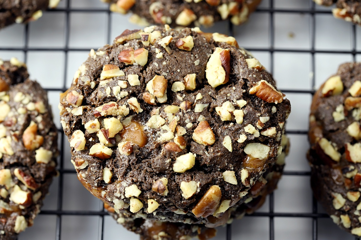 Pecans on a chocolate cookie.