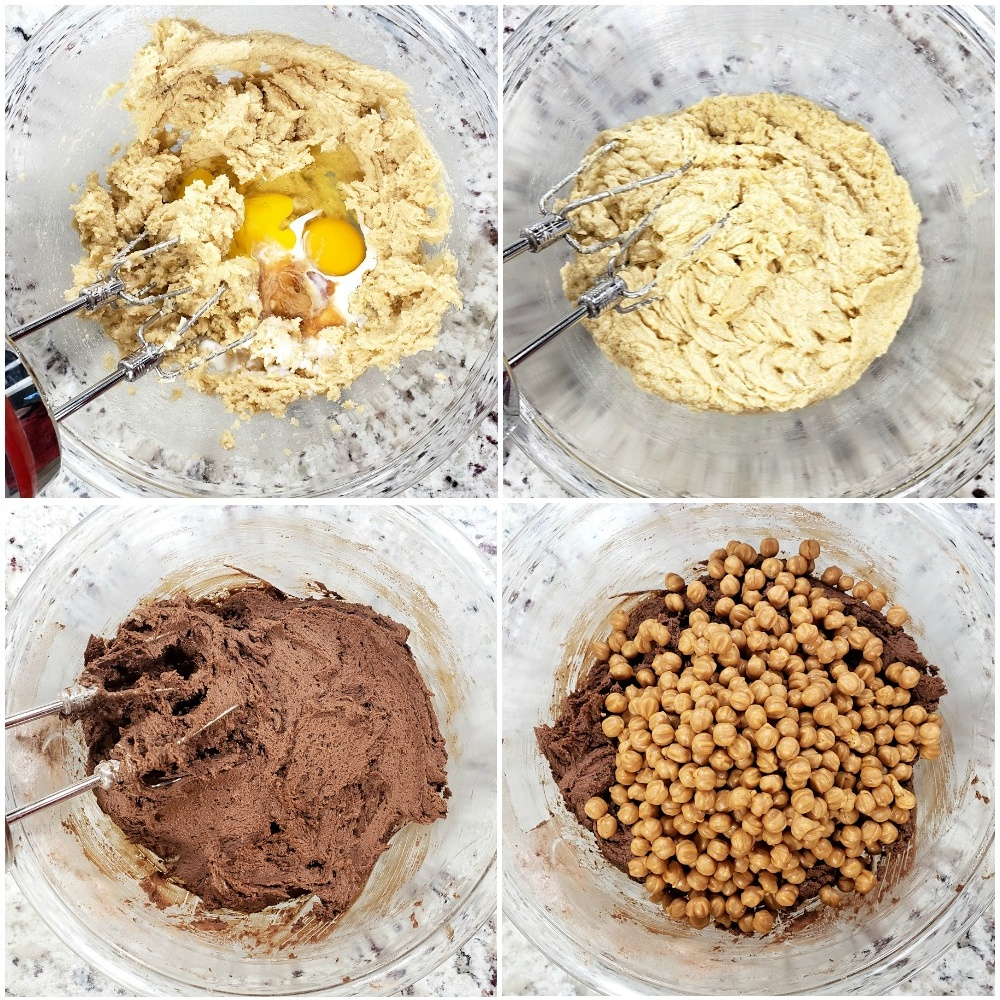 Mixing ingredients for a cookie dough.