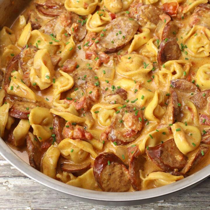 Andouille sausage tortellini skillet recipe.
