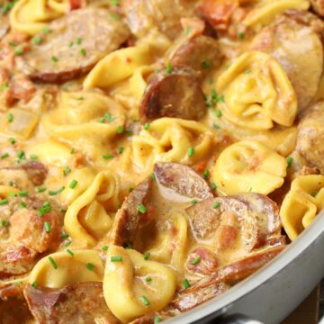 Andouille sausage and tortellini in a creamy sauce.