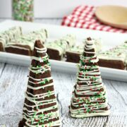 Two chocolate brownie trees with sprinkles.