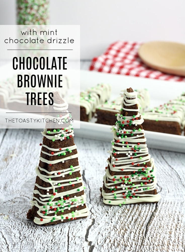Chocolate Brownie Trees with Mint Chocolate Drizzle by The Toasty Kitchen