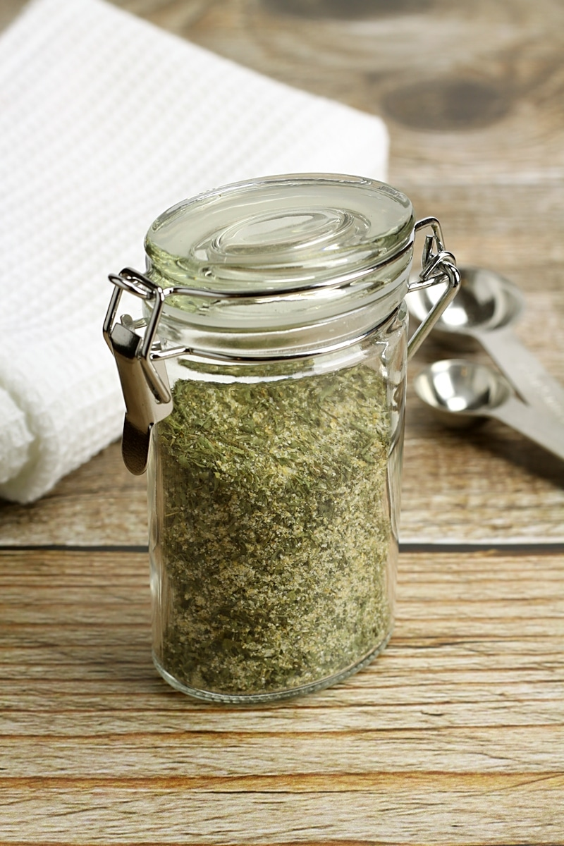 A spice jar filled with ranch seasoning.