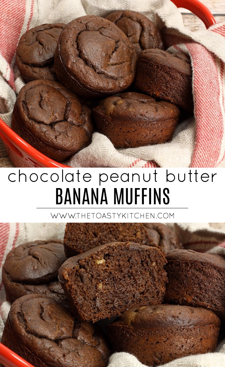 Chocolate Peanut Butter Banana Muffins by The Toasty Kitchen