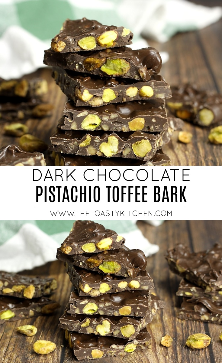 Dark Chocolate Pistachio Toffee Bark by The Toasty Kitchen