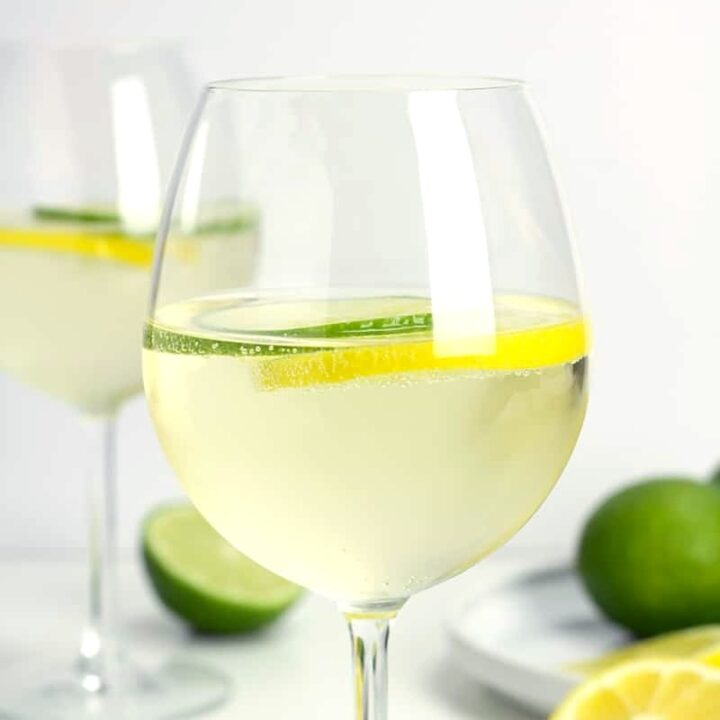 A wine glass filled with white wine with citrus slices.