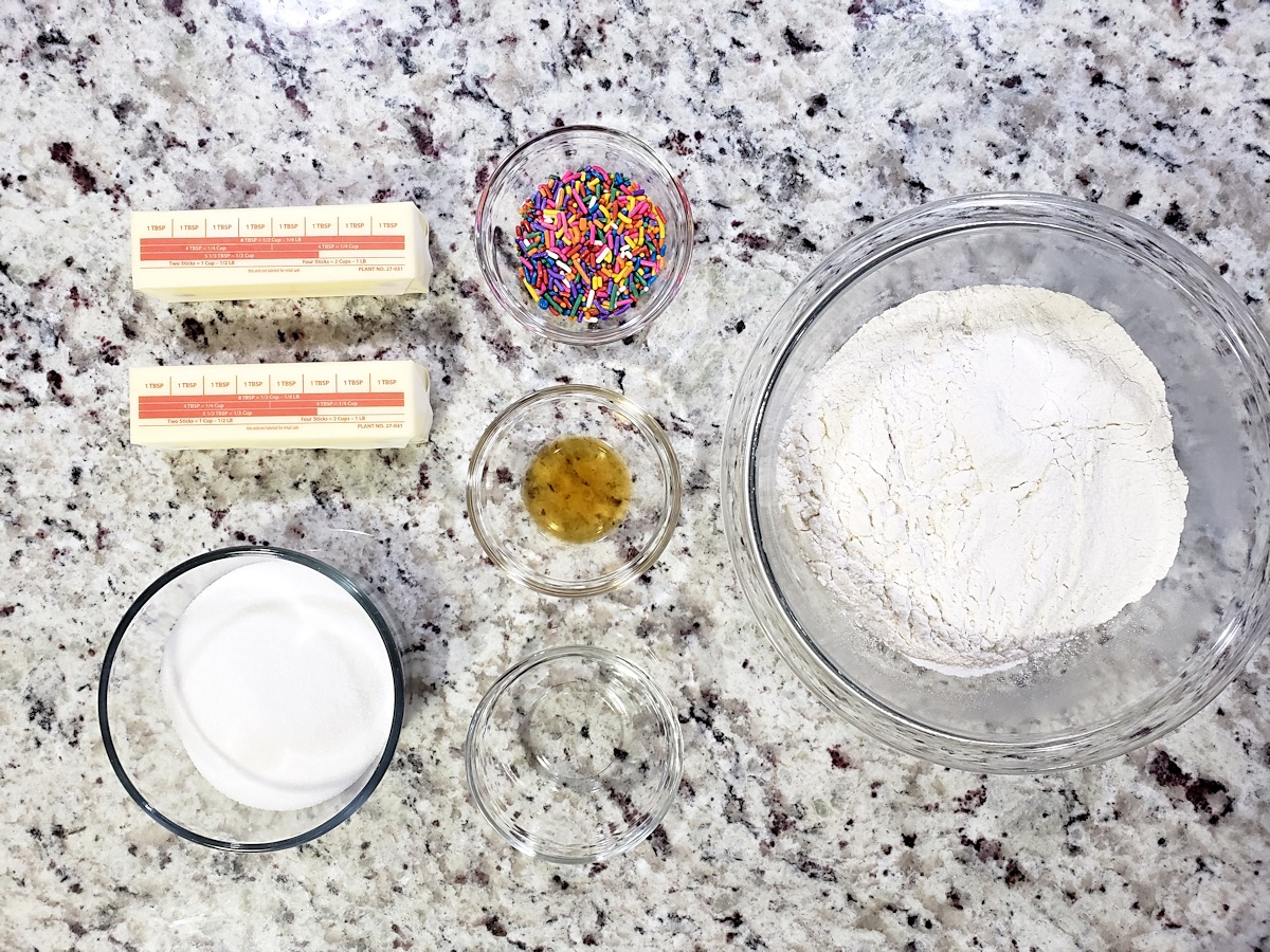 Ingredients to make shortbread cookies.