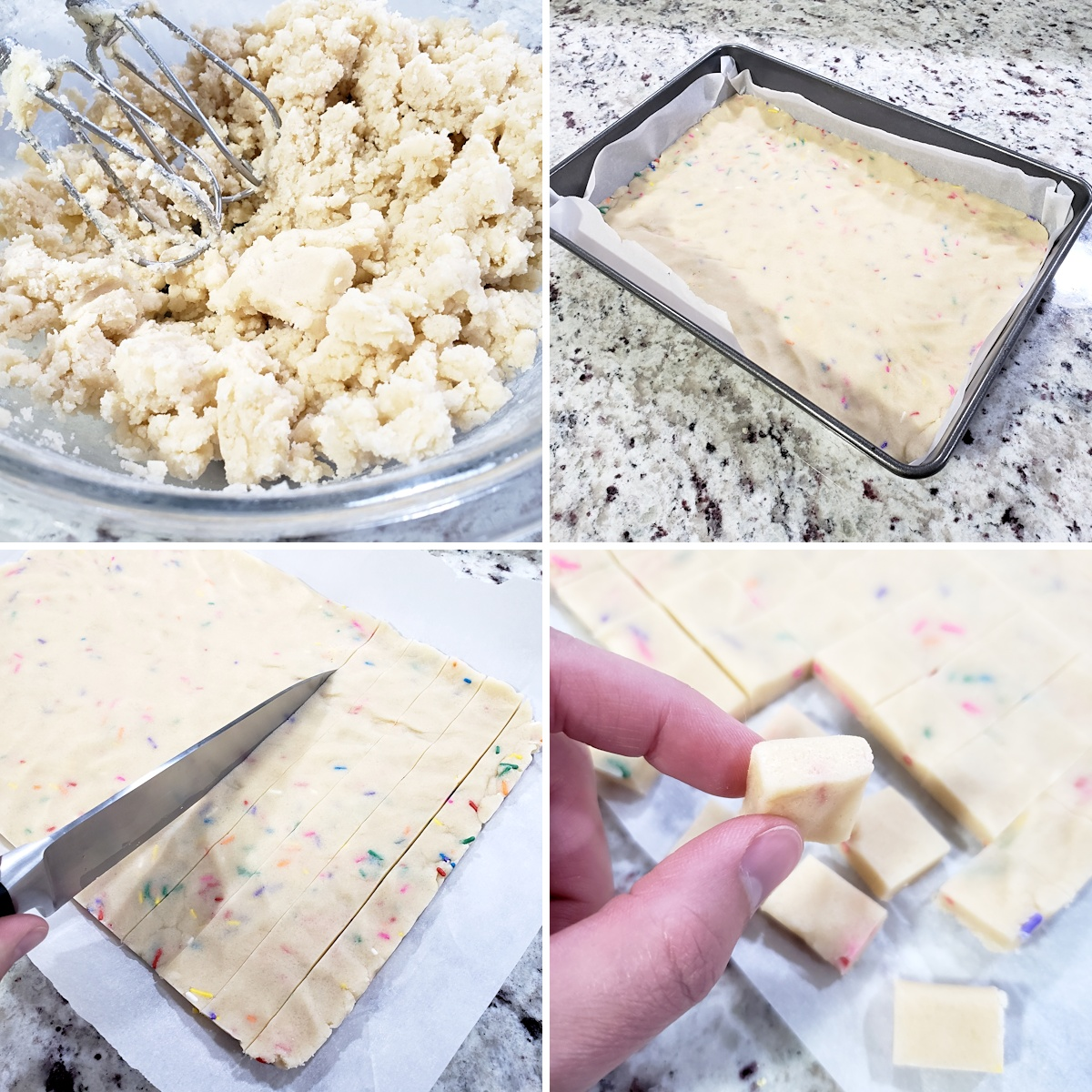 Shortbread cookie dough pressed into a pan, then being sliced into squares.
