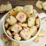 Shortbread cookies with rainbow sprinkles.