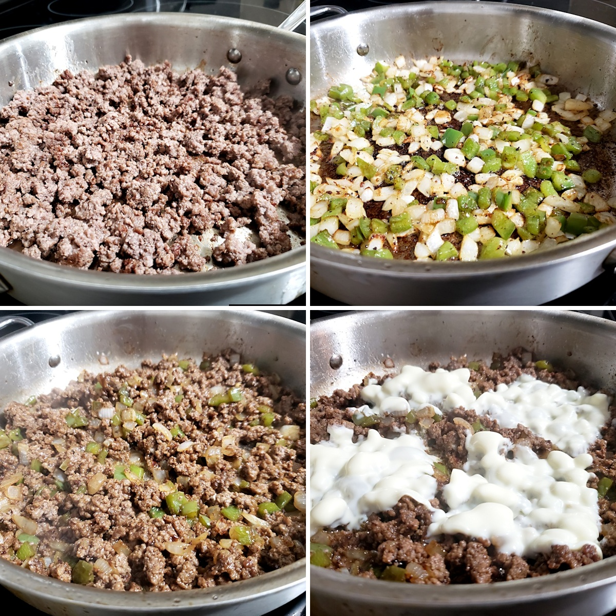 Cooking ground beef, onions, and bell pepper in a saute pan.