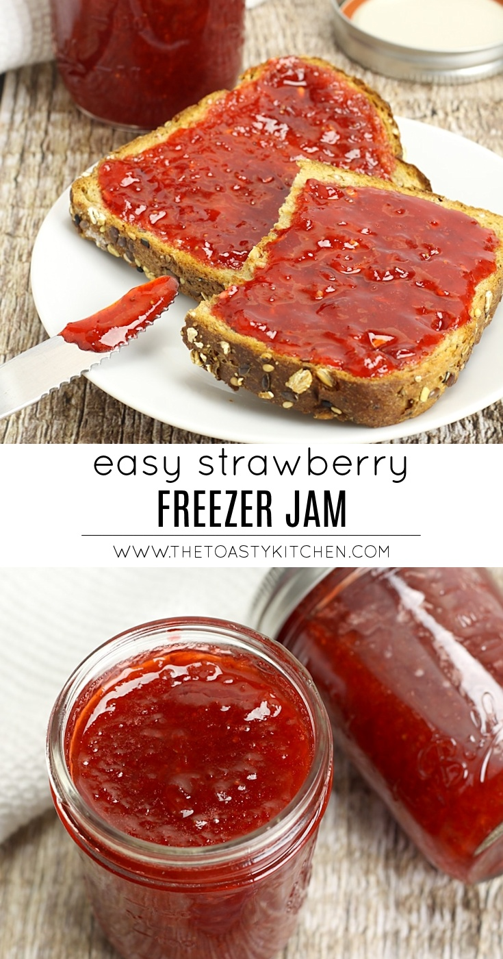 Easy Strawberry Freezer Jam by The Toasty Kitchen