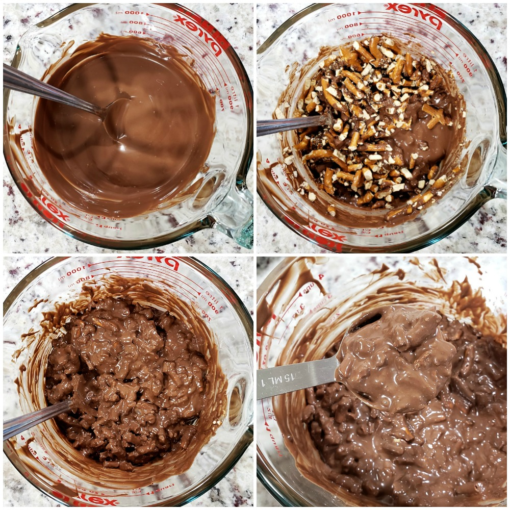Melted chocolate being mixed with pretzels.