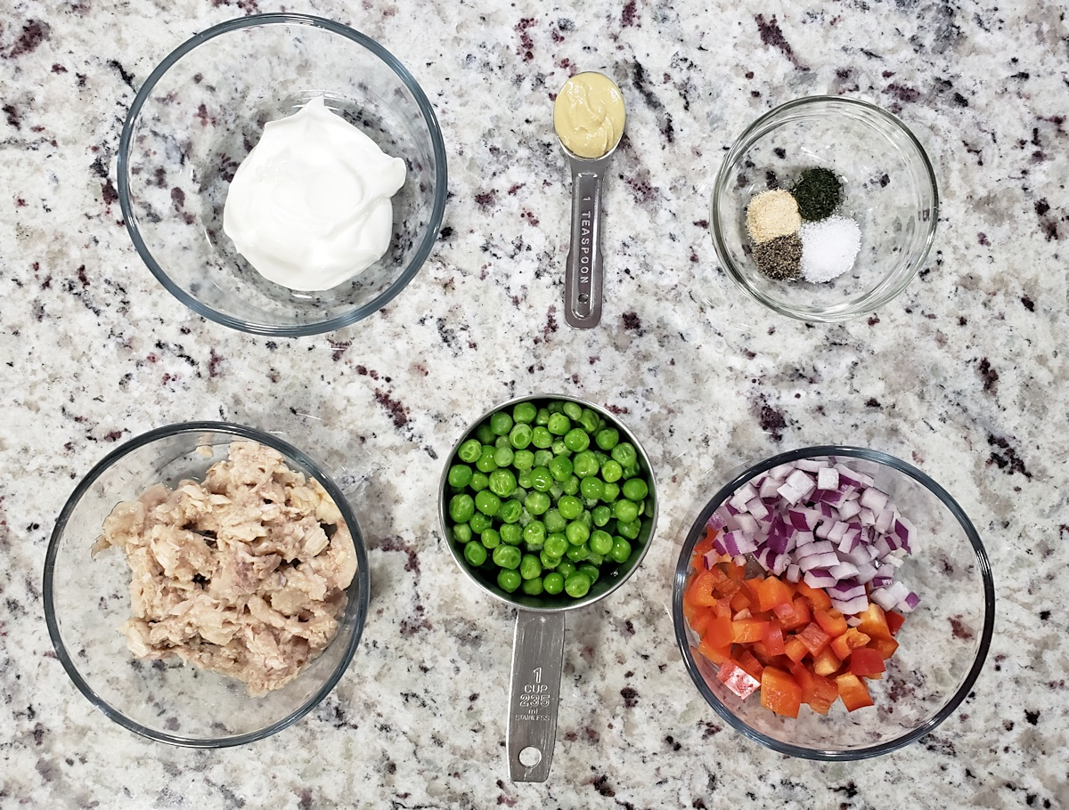 Ingredients to make tuna salad.