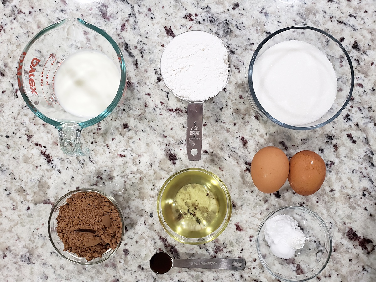 Ingredients to make cupcakes.