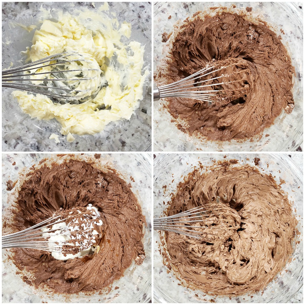 Mixing ingredients in a glass bowl to make frosting.