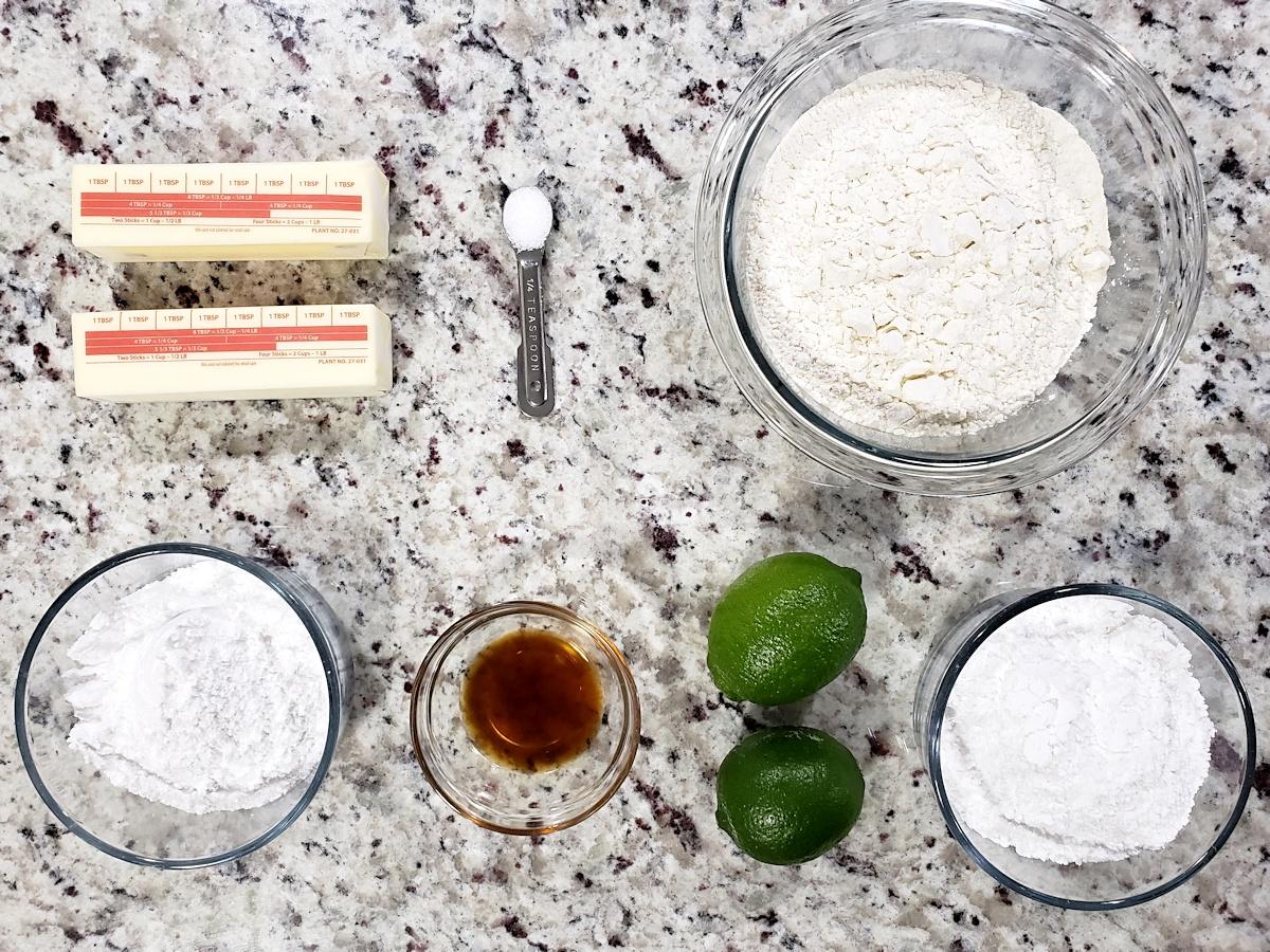 ingredients for lime shortbread cookies.