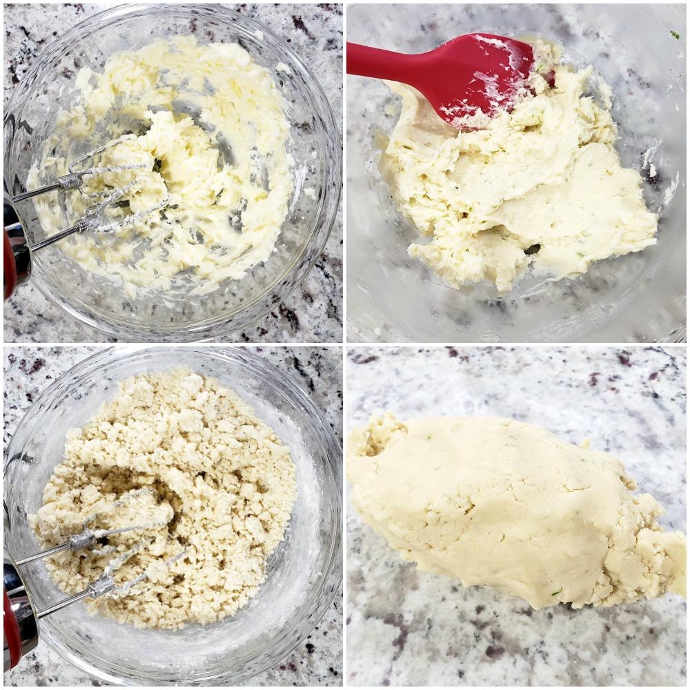Mixing shortbread cookie dough.