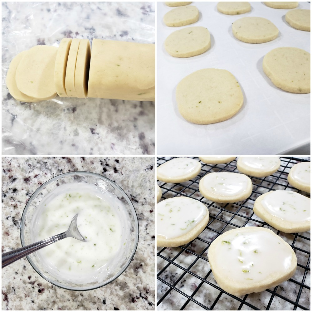 Slicing, baking, and icing shortbread cookies.