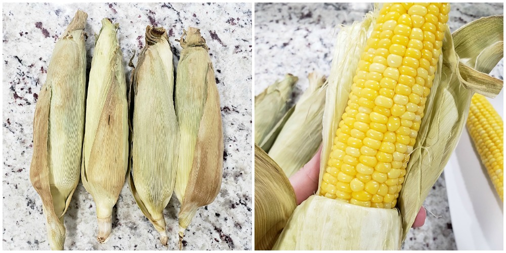 Pulling husks from a corn cob.