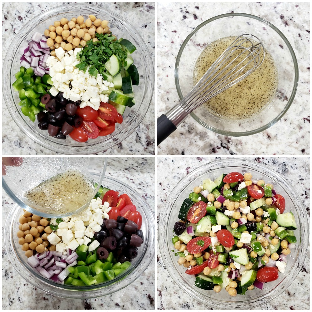 Pouring dressing over a salad and mixing.
