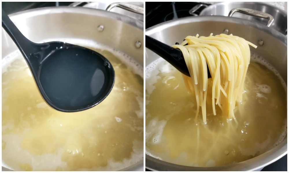 Boiling pasta and reserving pasta water.