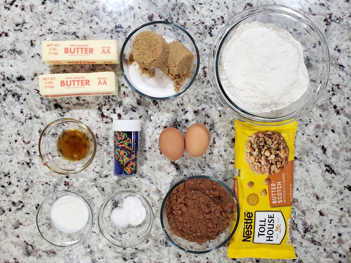 Ingredients for cookies on a counter top.