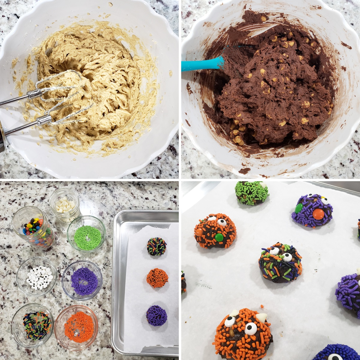 Mixing cookie dough and decorating cookie dough balls with sprinkles on a baking sheet.