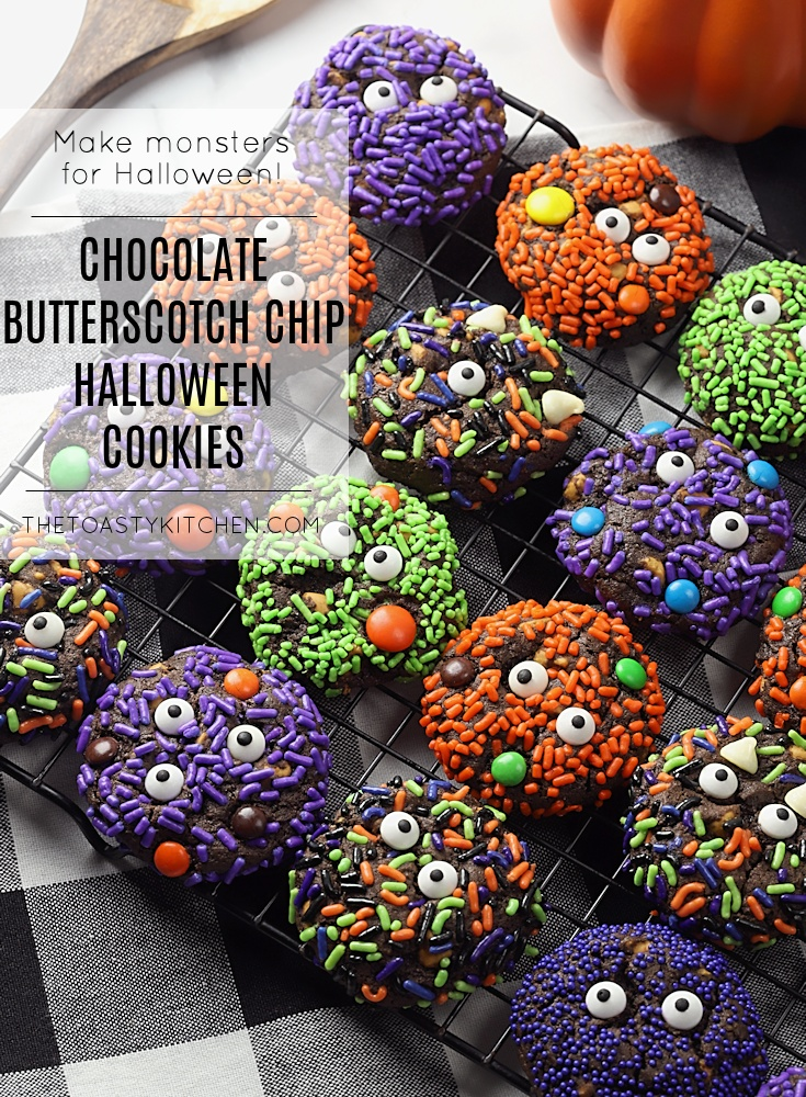 Chocolate Butterscotch Chip Halloween Cookies by The Toasty Kitchen