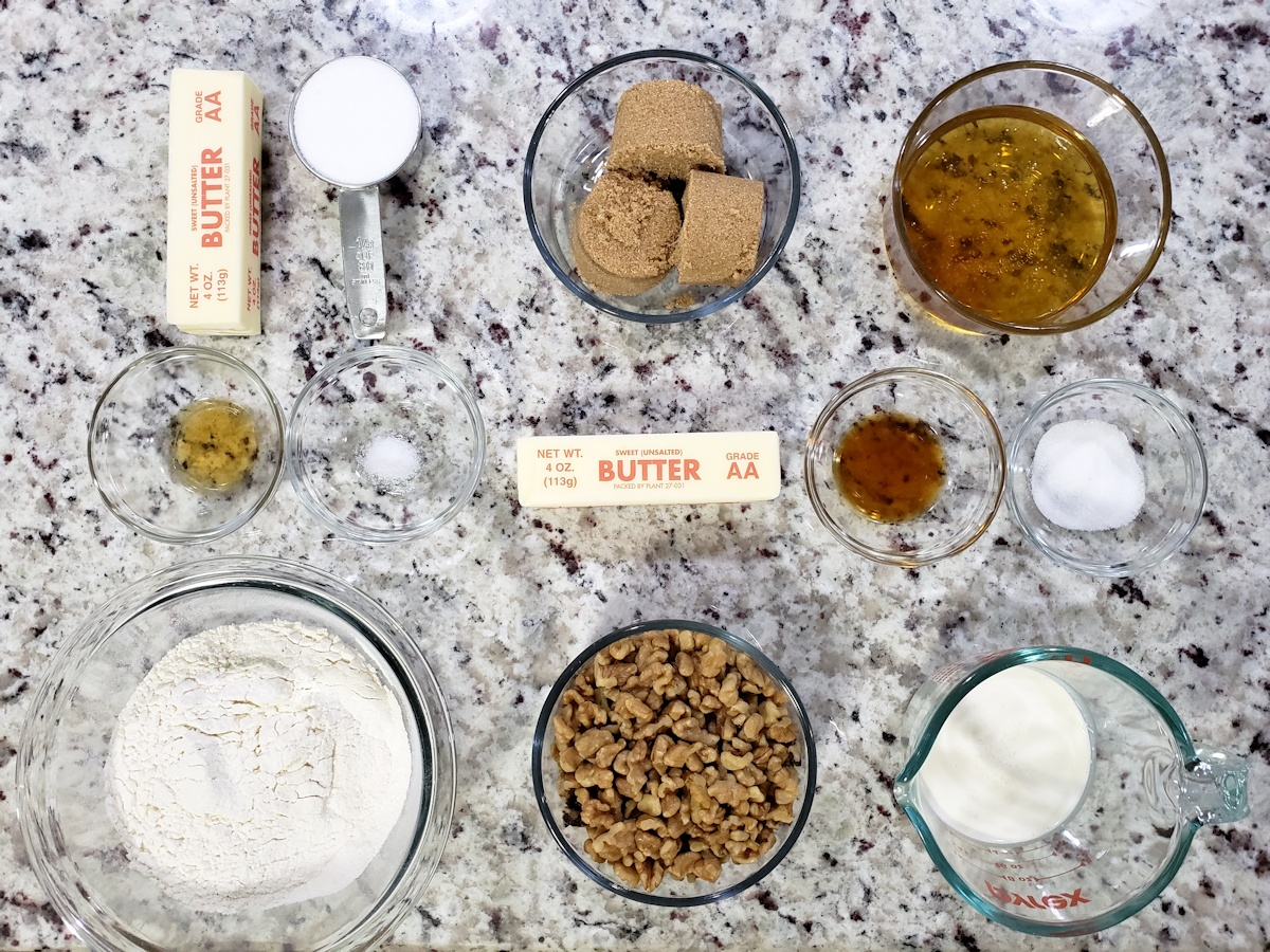 Ingredients to make shortbread and a honey walnut caramel.