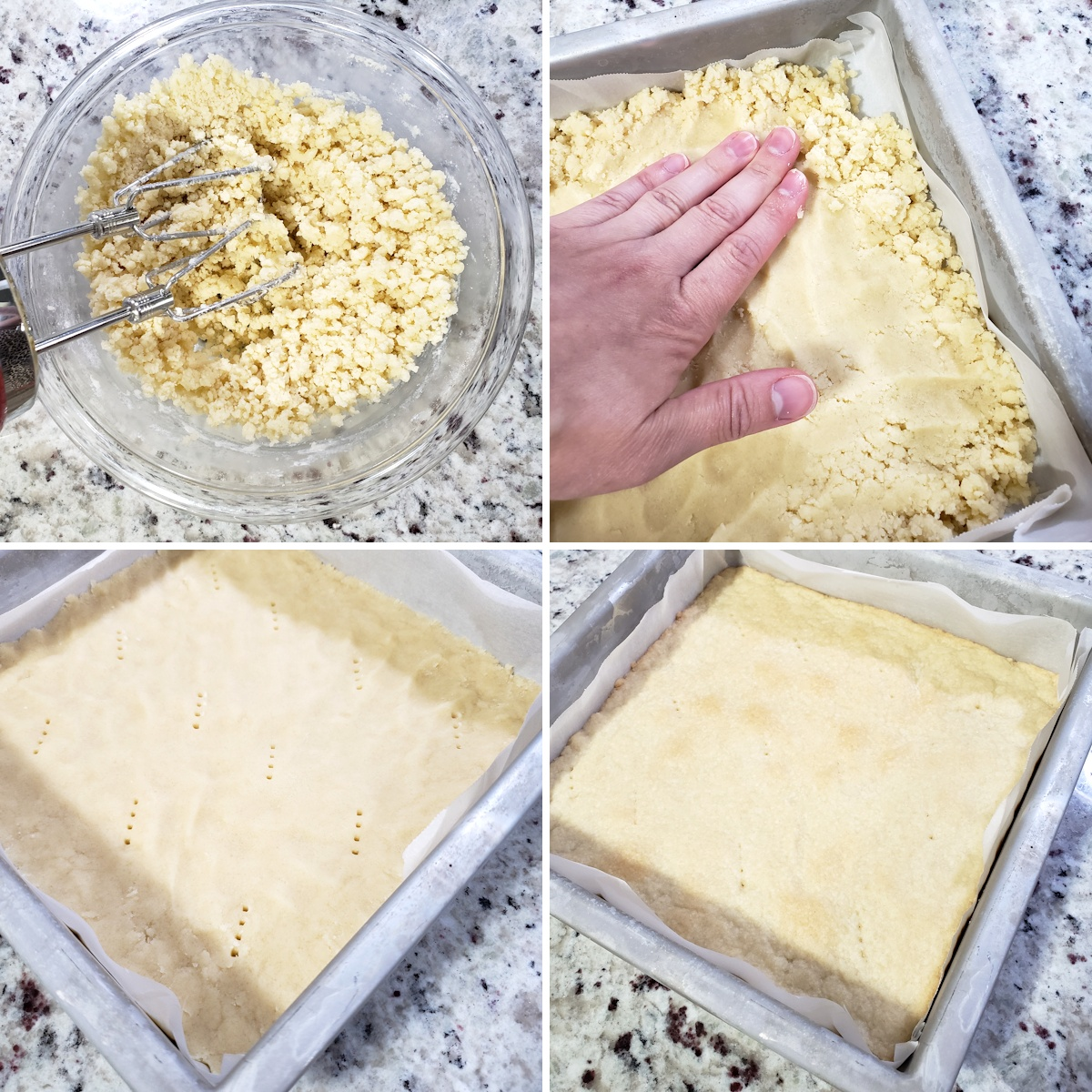 Pressing a shortbread crust into a square baking pan.