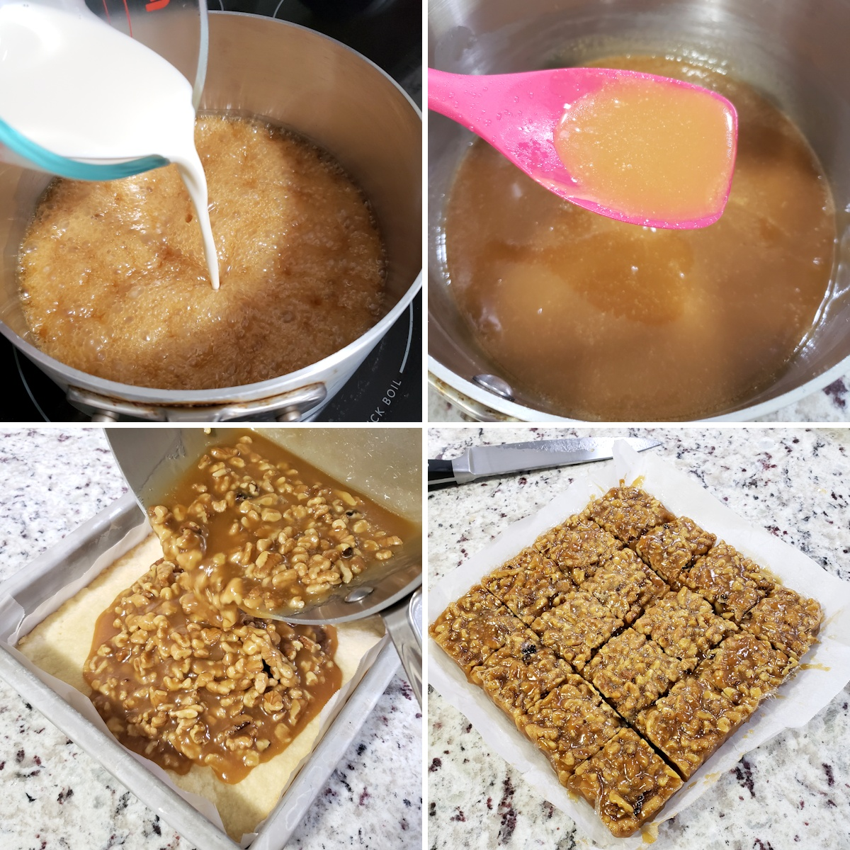 Cooking caramel in a pan and pouring into a baking pan.
