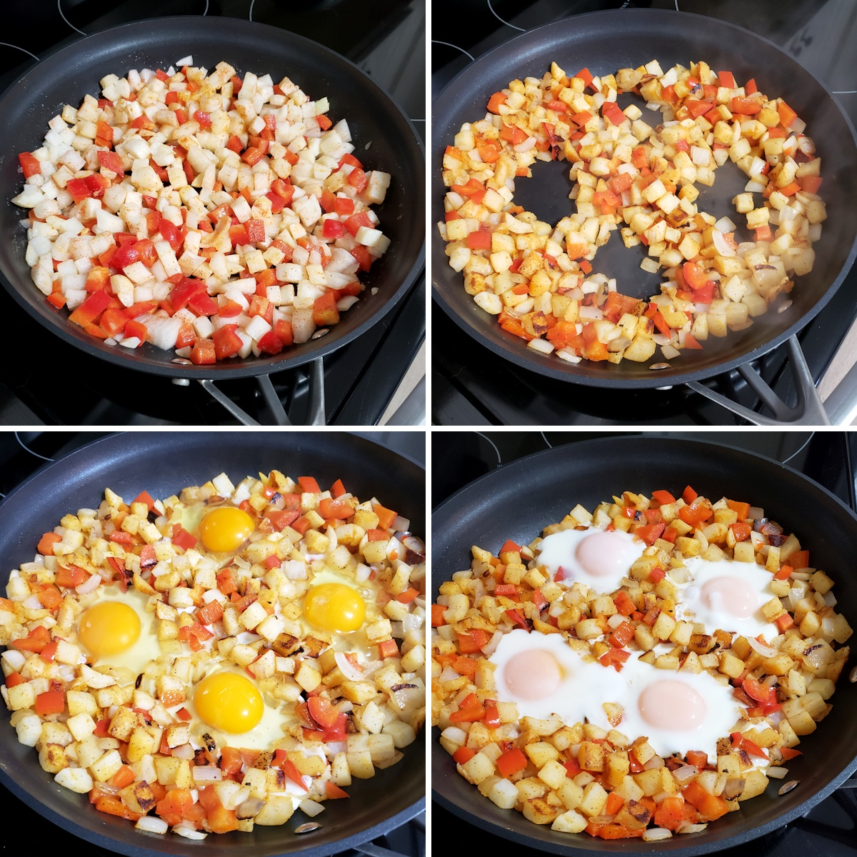 Cooking hash browns and eggs in a nonstick skillet.