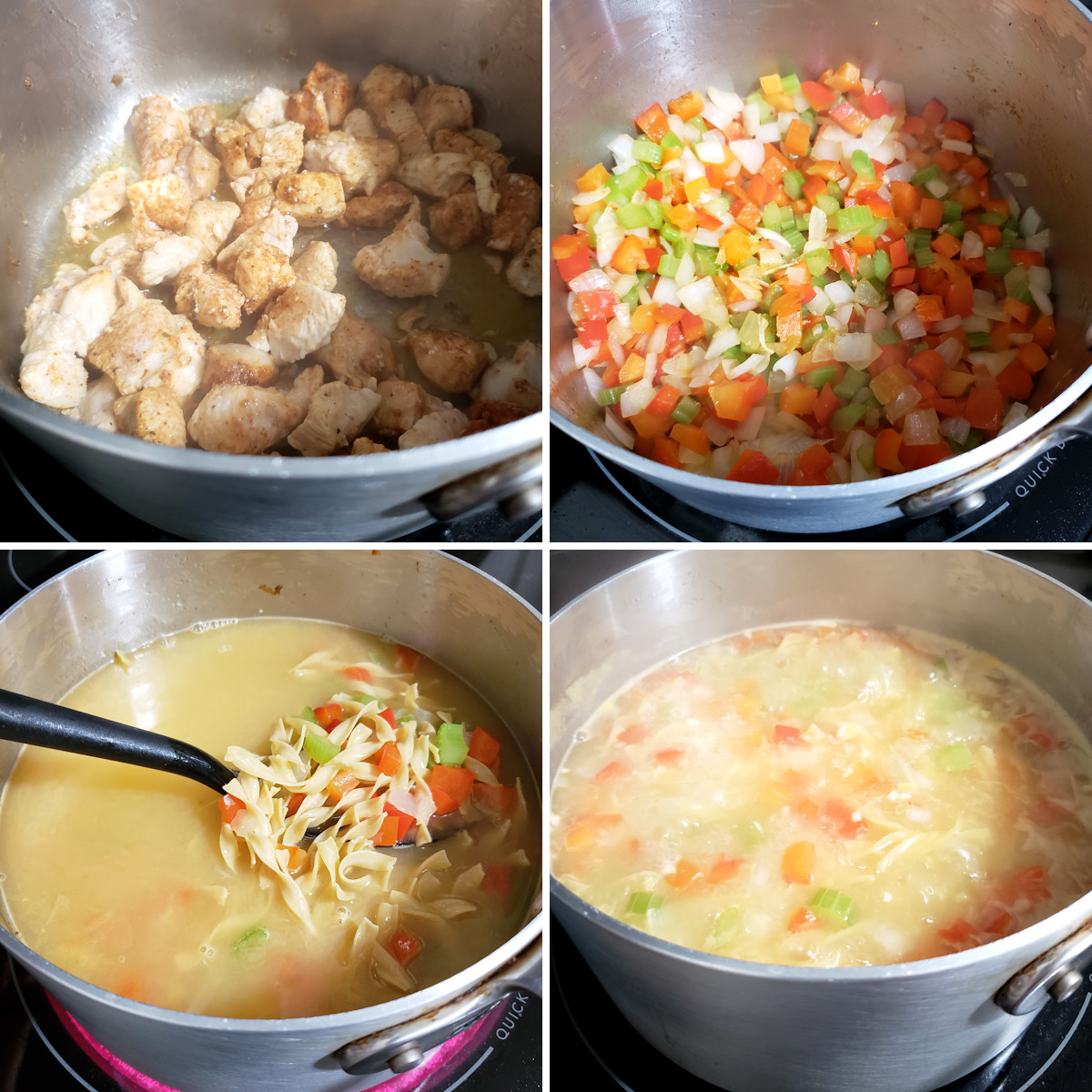 Cooking cajun chicken noodle soup in a pot on the stove.