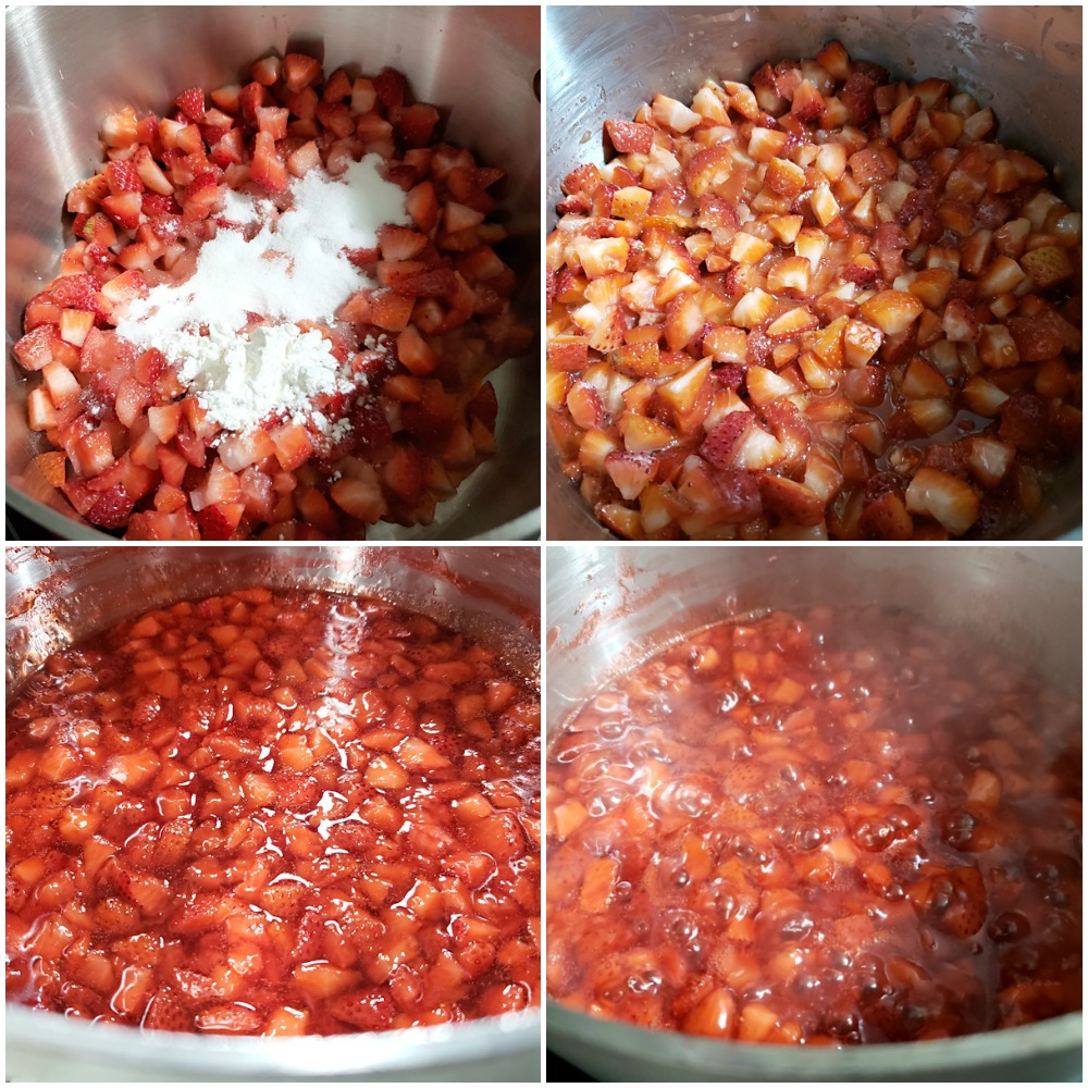 Strawberries cooking down in a sauce pan.