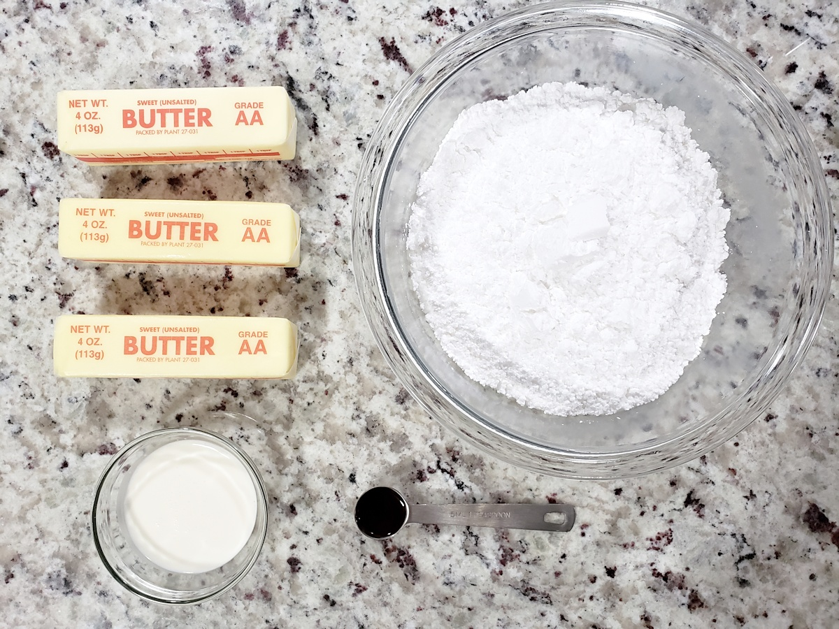 Ingredients to make American buttercream frosting.