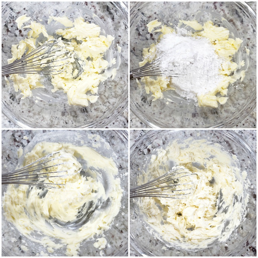 Mixing the ingredients for frosting in a glass bowl.