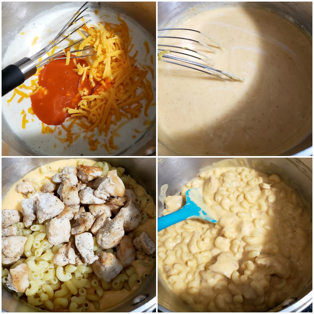 Making a cheese sauce and adding macaroni and chicken.