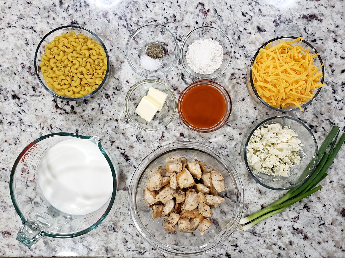 Ingredients to make macaroni and cheese.