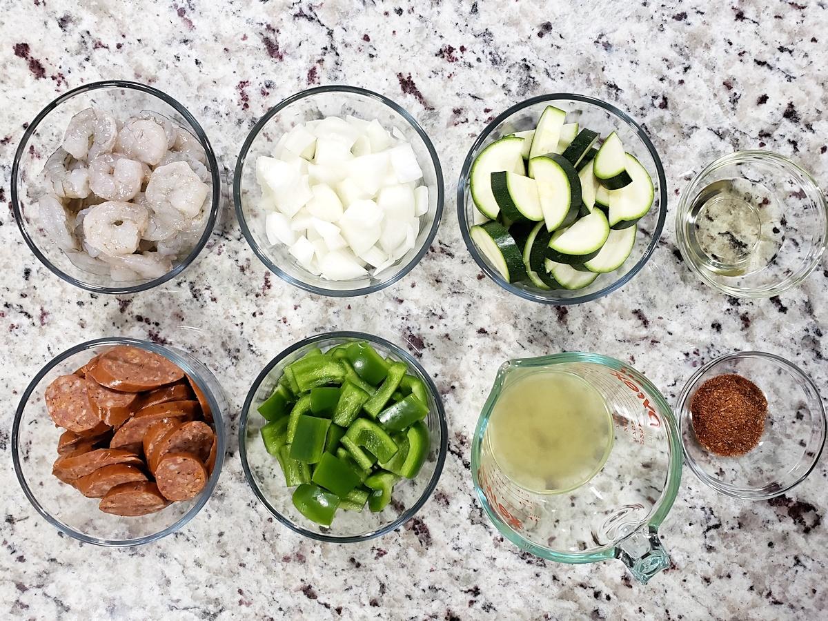 Ingredients for a shrimp and sausage skillet.